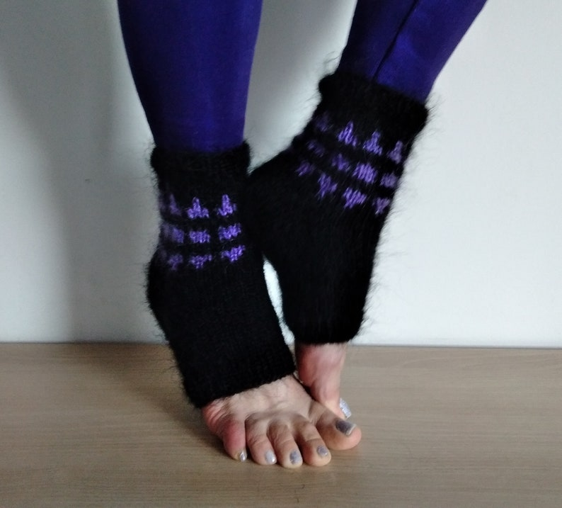 Long hair mohair yoga socks Knit pedicure socks Flip Flop socks Hand knitted mohair socks Socks ror Spa Anniversary gift Gift for wife
