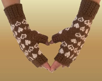 Hand-knitted Fingerless gloves / Hand knitted wool Fingerless mittens / Fingerless mittens with hearts