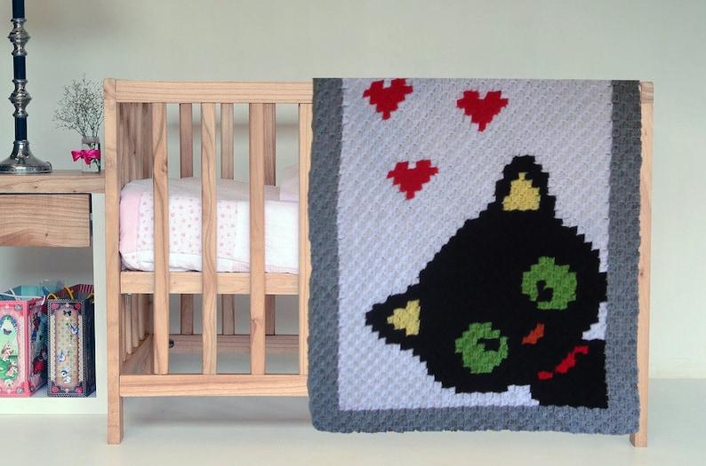 Hand-crochet wool baby blanket with Black Cat  Favourite children quilt with Cat   Handmade Halloween blanket