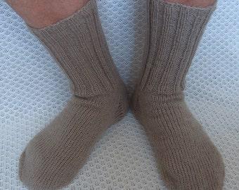 Unique hand-knitted wool men's socks (UK 8-10.5, EU 40-44)
