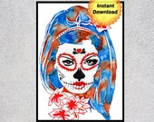 Dia De Los Muertos, Day of the Dead Art, Skull Decor, Halloween Printable