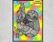 Sloth Gift, Sloth, Sloth Art, Sloth Printable