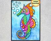 Seahorse, Seahorse Wall Art, Playroom Art, Seahorse Printable