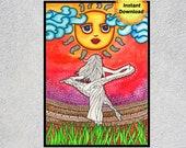 Sun Art, Sun, Bohemian Girl Art, Boho Printable, Printable Wall Art