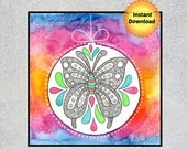 Butterfly, Butterfly Wall Art, Rainbow Nursery Art, Square Printable