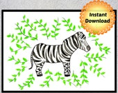 Zebra Decor, Safari Nursery Decor, Nursery Print, Zebra Printable Art