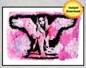 Cherub, Guardian Angel, Angel Painting, Angel Wall Art, Printable Wall Art