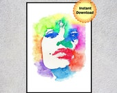 Sexy Art Print, Woman Portrait, Sexy Erotic, Colorful Painting, Printable Wall Art