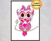 Owl Wall Art, Owl Nursery, Owl Lover Gift, Owl Decor, Printable Wall Art
