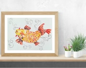 Koi Fish, Koi, Koi Fish Wall Decor, Original Watercolor Painting
