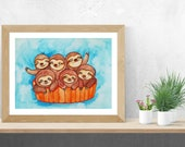 Sloth, Sloth Art, Sloth Gift, Funny Sloth, Original Sloth Watercolor Painting