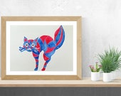 Cat Mom Gift, Cat Friend Gift, Whimsical Cat, Original Watercolor Cat Painting