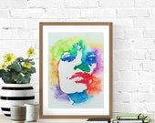 Sexy Face, Feminist Wall Art, Pop Art Portrait, Modern Portrait Art, Original Watercolor Painting