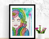 Hair Wall Art, Psychedelic Art, Woman Art, Original Watercolor Painting