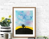 Galaxy Painting, Twilight, Fairy Silhouette, Original Watercolor Painting