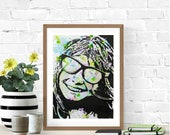 Pop Art Portrait, Happy Face, Woman Portrait, Original Watercolor Portrait