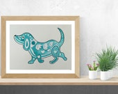 Dachshund Art, Original Watercolor Dachshund