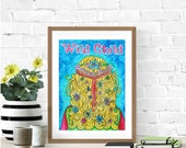 Psychedelic Art, Bohemian Girl Art, Wild Child, Boho Girl Nursery, Original Watercolor Painting