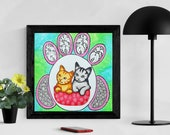 Cat Artwork, Cat Wall Art, Original Watercolor Psychedelic Art