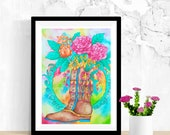 Bohemian Wall Art, Shoes Wall Art, Folk Art Painting, Original Watercolor Painting