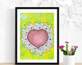 Doodle Art, Modern Love Art, Love Wall Art, Original Watercolor Painting