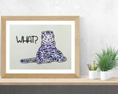 Funny Cat Decor, Cat Wall Art, Cat Poster, Cat Portrait, Original Watercolor Painting
