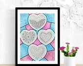 Love Wall Art, Heart Wall Art, Heart Wall Decor, Original Colored Pencil Drawing