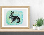 Rabbit Wall Art, Teal Wall Art, Rabbit Painting, Original Watercolor Painting
