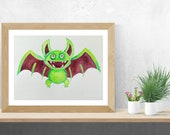 Creepy Cute Bat Art, Original Watercolor Painting