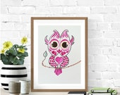 Owl Nursery Decor, Owl Nursery, Owl Painting, Original Watercolor Painting