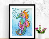 Seahorse Wall Decor, Sea Horse, Seahorse Art, Original Watercolor Painting