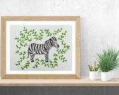 Zebra Painting, Safari Nursery Decor, Zebra Decor, Zebra Wall Art, Original Watercolor Painting