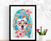 Skull Decor, Day of the Dead Art, Dia De Los Muertos, Original Watercolor Painting