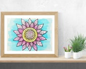 Mandala Wall Art, Lotus Decor, Lotus Flower Art, Original Watercolor Painting