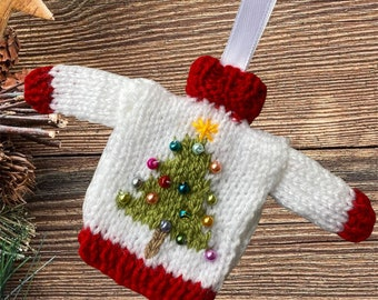 Gorgeous Hand Knitted Christmas Ornament - White mini jumper / sweater for hanging on your Christmas tree