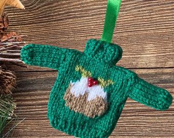 Hand knitted Mini Christmas jumper, lovely Christmas tree decoration. Knitted bauble,  mini Christmas sweater, mini jumper, mini sweater.
