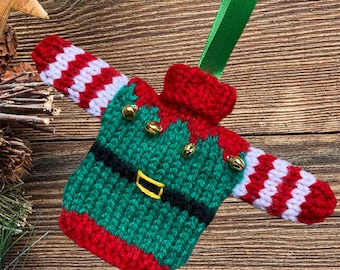 Hand knitted Mini Christmas jumper, lovely Christmas tree decoration. Knitted bauble,  mini Elf sweater, mini elf jumper, mini elf sweater.