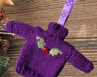 Knitted Mini Christmas jumper, lovely purple Christmas tree decoration. Knitted bauble,  mini Christmas sweater, mini jumper, mini sweater.