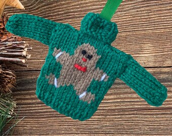 Gingerbread Man Mini Christmas jumper, Christmas tree decoration. Knitted bauble,  mini Christmas sweater, mini jumper, mini sweater. Green