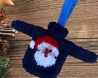 Gorgeous Hand Knitted Christmas Ornament - Navy Blue mini Santa jumper / sweater for hanging on your Christmas tree
