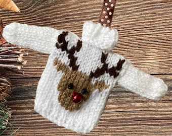 Hand knitted Mini Christmas jumper, lovely Christmas tree decoration. Knitted bauble, mini Christmas sweater mini jumper, red nosed reindeer