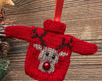 Hand knitted Mini Christmas jumper, lovely Christmas tree decoration. Knitted bauble,  mini Christmas sweater, red bauble, Rudolph reindeer