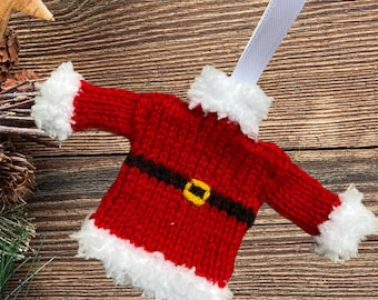 Hand knitted Mini Christmas jumper, lovely Christmas tree decoration. Knitted bauble,  mini sweater, mini Santa jumper, mini elf sweater.