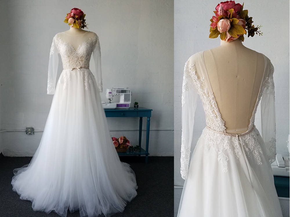 Long Sleeves Backless Beaded Lace Tulle Beach Wedding Dress Etsy