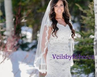 1 tier Fingertip Lace Veil, Elbow Lace Veil,Hip Lace Veil,Short Lace Veil-1 tier Lace Fingertip Wedding Veil-Slim Embroidery Lace Veil V635