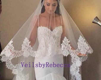 Lace Cathedral Veil, cathedral lace veil, cathedral  blusher veil, cathedral drop wedding veil, Royal lace Veil, 2 tiers floating veil V611