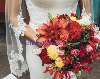 Fingertip Partial Lace veil,lace applique wedding veil, lace fingertip wedding veil, lace veil fingertip-1 tier short lace bridal veil V636