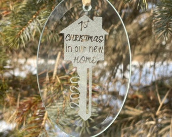 First Christmas Gift, First Christmas in House Ornament,  New House Christmas Gift, House Warming Gift, Personalized Christmas Ornaments