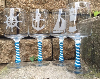 Nautical, sailing, wine glass, bridesmaid gifts, wedding party, wedding gift, glass etched, unique gifts, gifts for her