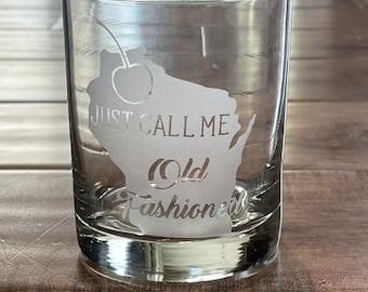 Wisconsin whiskey glass, Wisconsin Old Fashioned drinking glass, Wisconsin Rocks Glass, Old Fashioned Glass